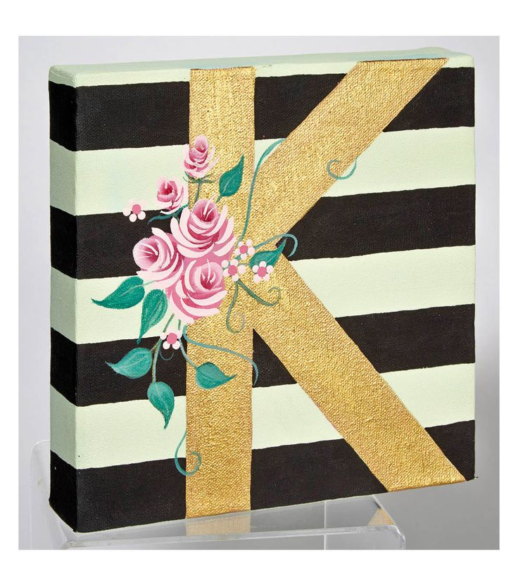 Make your own canvas art! Try this Floral Monogram and Rose Canvas