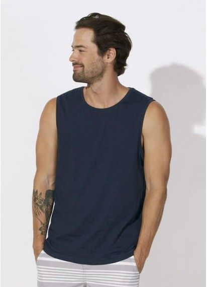Owen - men's sleeveless tee in Navy. You're ready for summer and surfing in this fair trade and 100% organic cotton sleeveless tee. Made in Bangladesh.