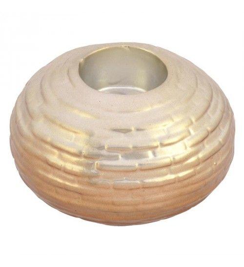 CERAMIC T LIGHT HOLDER IN SILVER_COPPER COLOR 12X12X7_5