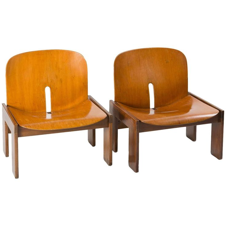 Fresh Pair of Lounge Chairs Model by Afra and Tobia Scarpa for Cassina ca