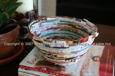 So many recycled projects, so little time!  Here is a tutorial for a recycled magazine bowl.