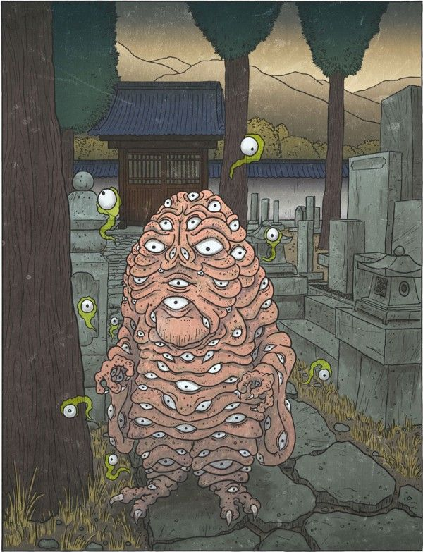 Hyakume- Japanese folklore: fleshy, humanoid blob. Covered in 100 eyes from head to toe. They live in abandoned homes and spacious temples. They are nocturnal and guard their living space from potential thieves. Their eyes can detach a float around patrolling the surrounding area. They are not very violent, relying on their size to intimidate intruders.