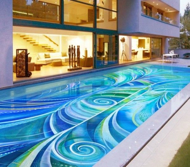Mid Century Home Architecture With Modern Small Swimming Pool Design Using  Exquisite Abstract Mosaic Tiles Idea