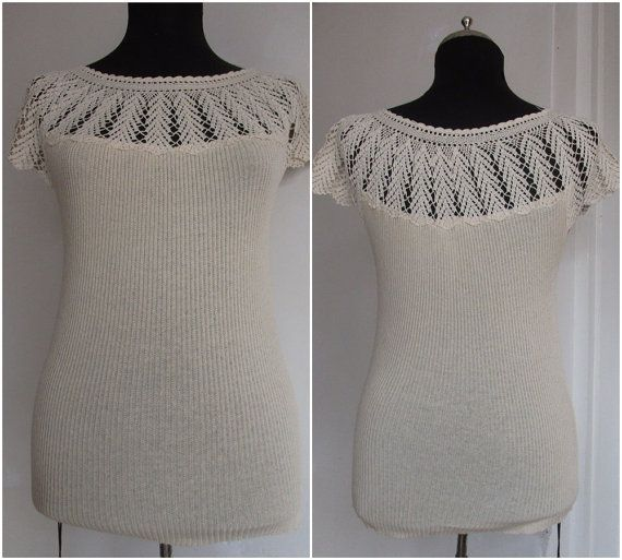 Cream lace top for women Cotton knit top Lace by angelofanatolia