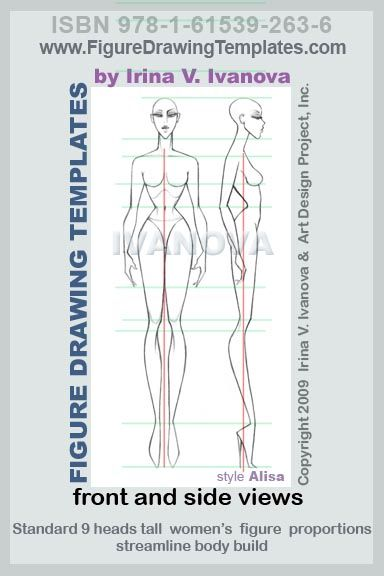 this women's figure drawing template designed for drawing women's body in front and side views in static position.