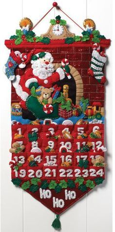 Bucilla Must Be Santa Advent Calendar - Felt Applique Kit. The whole family will love counting down to St. Nick's arrival with this whimsical calendar. Kit incl