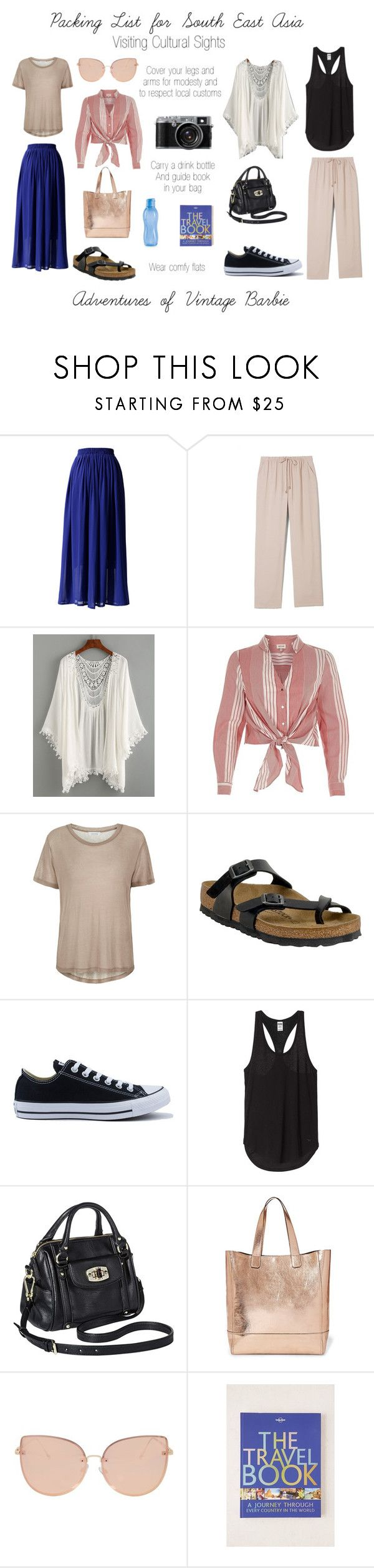 """""""Packing list for South East Asia"""" by vintagebarbie17 on Polyvore featuring Chicwish, Vince Camuto, River Island, Samsøe & Samsøe, Birkenstock, Converse, Merona, Steve Madden, Topshop and Lonely Planet"""