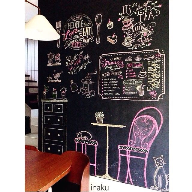 Made this chalk art on my #diningroom wall..