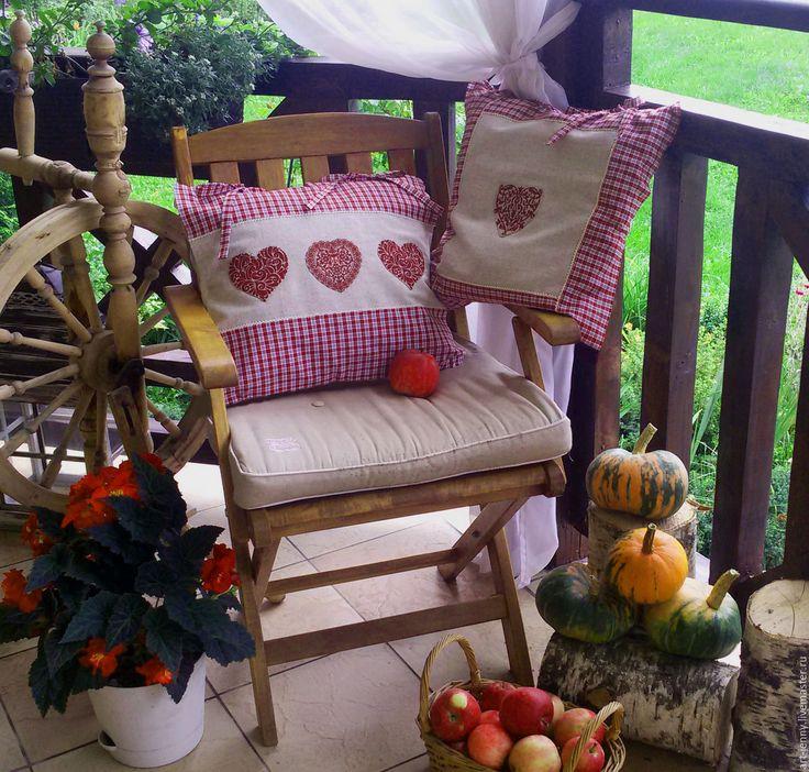 Купить текстильные сердечки - бордовый, красный, натуральный, лен, серо-бежевый, сердечко, аппликация из ткани