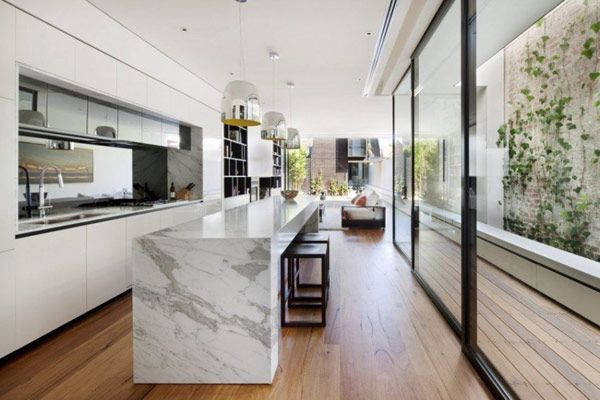 Like the timber floor against the marble tops great contrast
