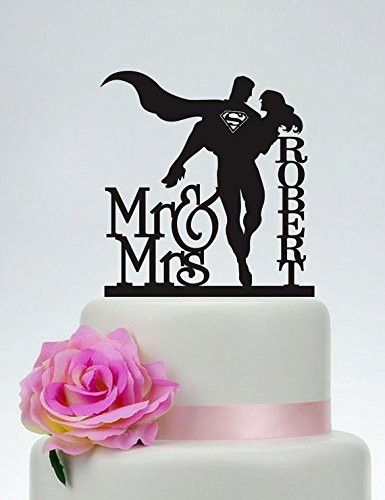Wedding Cake Topper,Mr and Mrs Cake Topper With last name,Superman and Bride Cake Topper,Custom Cake Topper,Super Hero Wedding