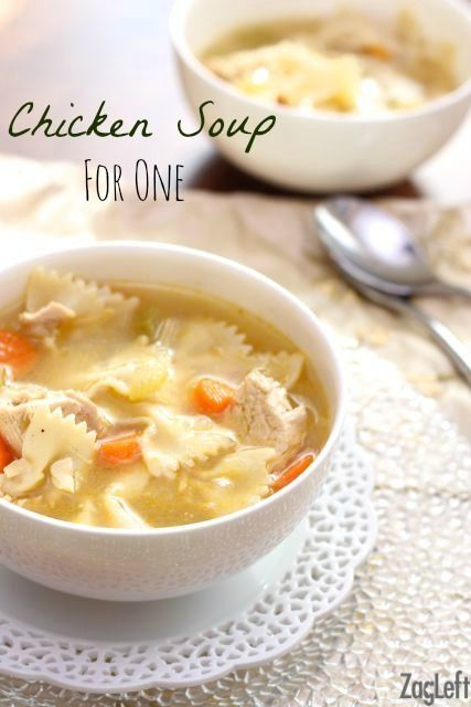 Here's a great recipe for hearty and satisfying Chicken Soup for One! No need to make a huge pot, this wonderful recipe will serve one or two people.