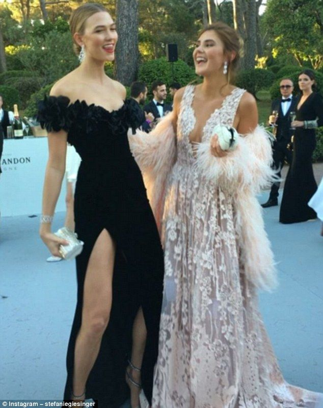 The model is pals with supermodel Karlie Kloss, left, and the pair were seen sharing a lau...