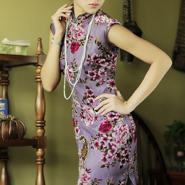 Silk Velvet Custom Tailored Cheongsam Purple