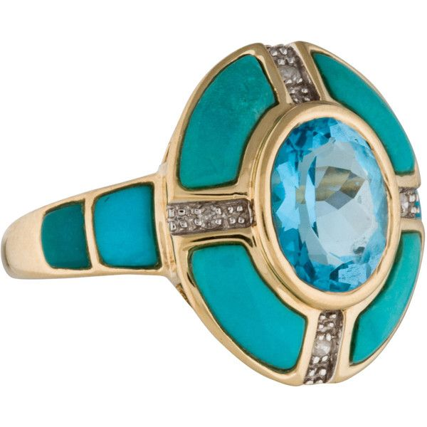 Pre-owned 14K Diamond, Blue Topaz and Turquoise Ring ($375) ❤ liked on Polyvore featuring jewelry, rings, round diamond ring, statement rings, bezel set diamond ring, turquoise diamond ring and turquoise cocktail ring