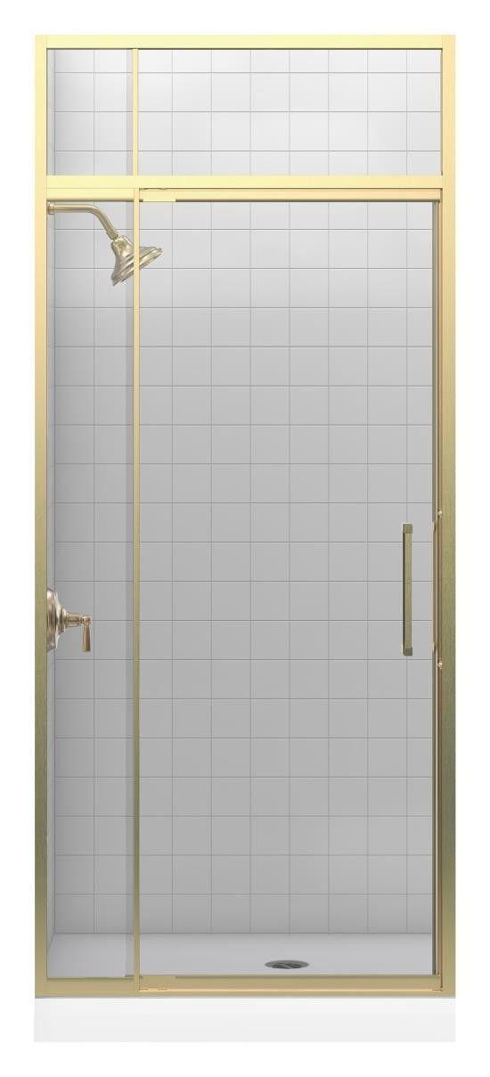 "Lattis 89.5"" x 39"" Pivot Shower Door with Sliding Steam Transom"