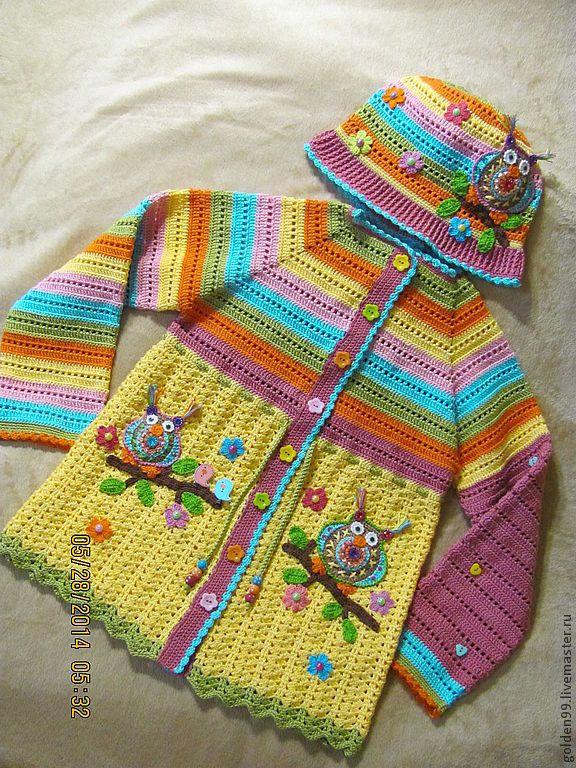 """Одежда для девочек, ручной работы. Ярмарка Мастеров - ручная работа Кофта """" Совушка """" для девочек. Handmade."""
