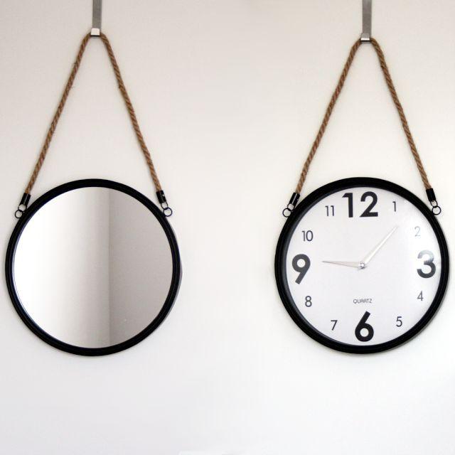 DIY okrągłe lustro i zegar na sznurku