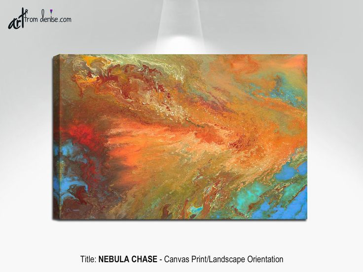 Large abstract fall pictures, Brown orange & blue canvas wall art for dining living room decor above
