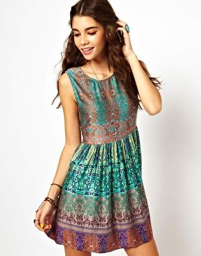 Enlarge Band Of Gypsies Smock Dress In Indian Print