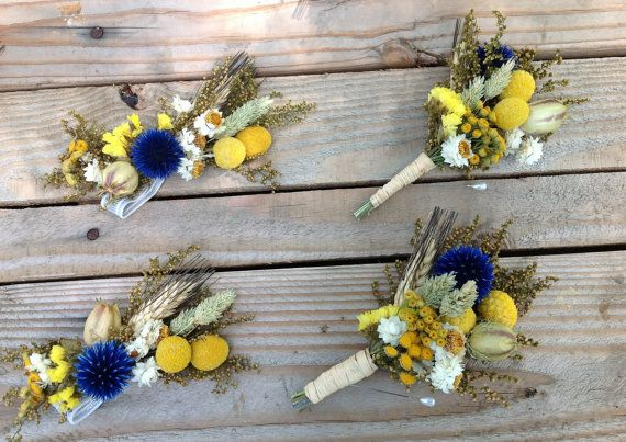 Sunny Blues Collection - Pin Corsage - Mothers of the Bride & Groom - Dried wedding flowers - Blue golden yellow craspedia blue thistle