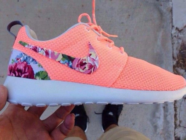 shoes neon orange pink nike girly floral nike roshe run roshe run coral floral shoes coral nikes hipster shorts trainers girls niketrainers ...