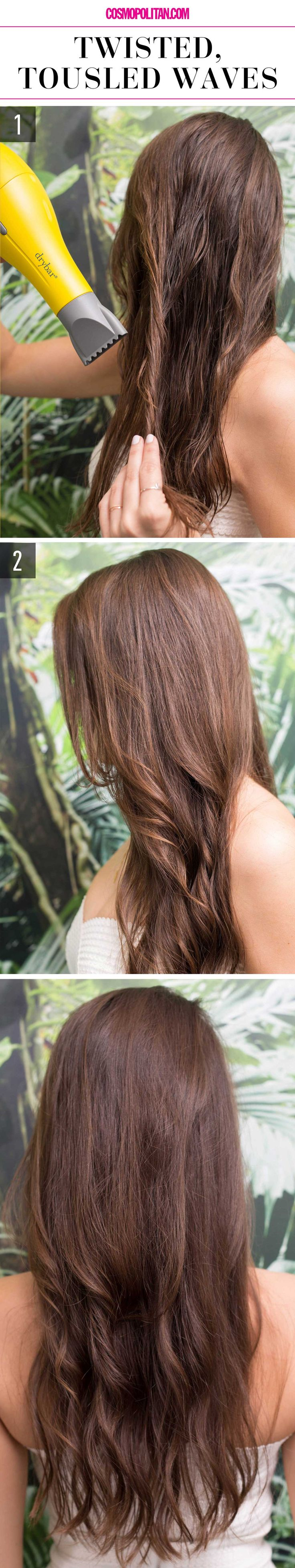 15 Super-Easy Hairstyles For When You're Feeling Particularly Lazy- Twisted, Tousled Waves- Put your blow dryer to good use by obtaining straight yet natural locks in just minutes. Learn the how-to and get more hair tricks for those days you just can't get out of bed at redbookmag.com.