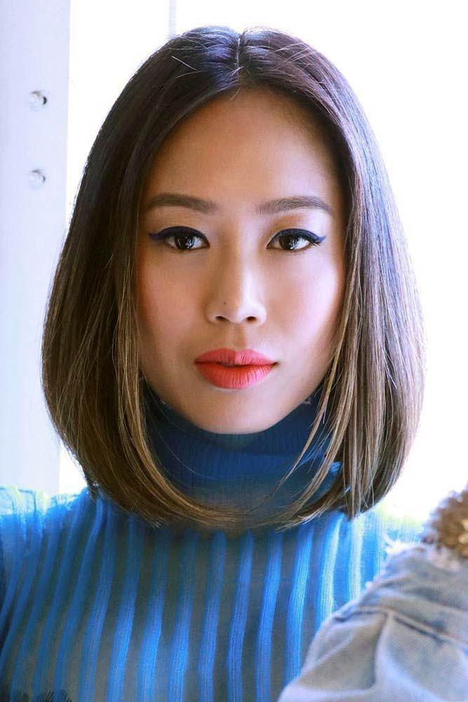 Mittelteiliger stumpfer Bob #asianhairstyles #hairstyles # ...