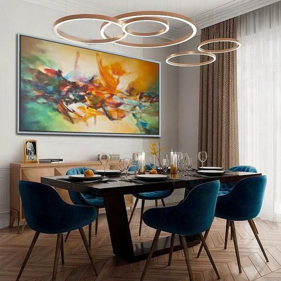 Colorful Extra Large Painting Horizontal Modern Contemporary Abstract Wall Art Brush Strokes Oversize Canvas Painting 38 X 64 Matching Wall Art Dining Room Paint Dinning Room Design