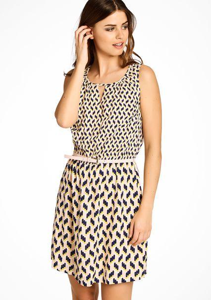 Mouwloze jurk met etnische print,
