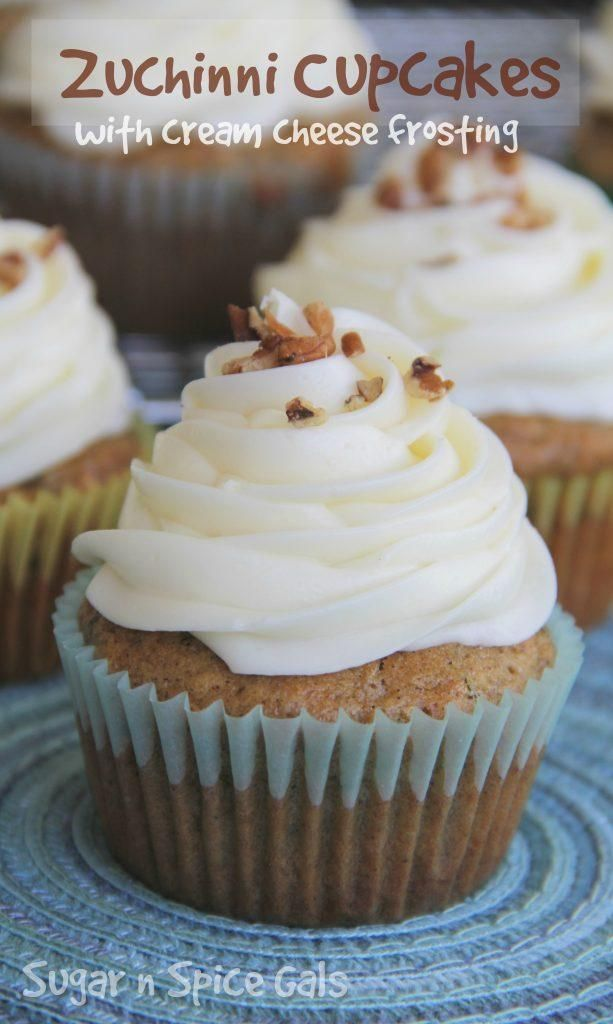 Zucchini Cupcakes w/ Cream cheese frosting...great way to use all that summer…