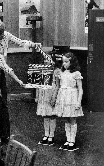Twins Lisa and Louise Burns on the set of Stanley Kubrick's The Shining, 1980