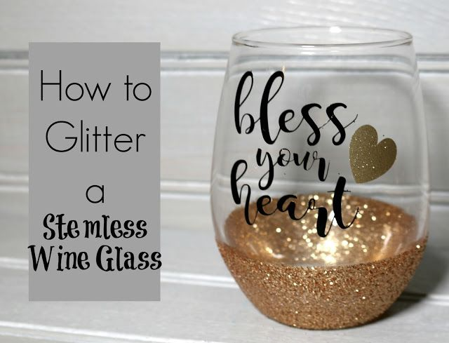 How to Glitter a Stemless Wine Glass