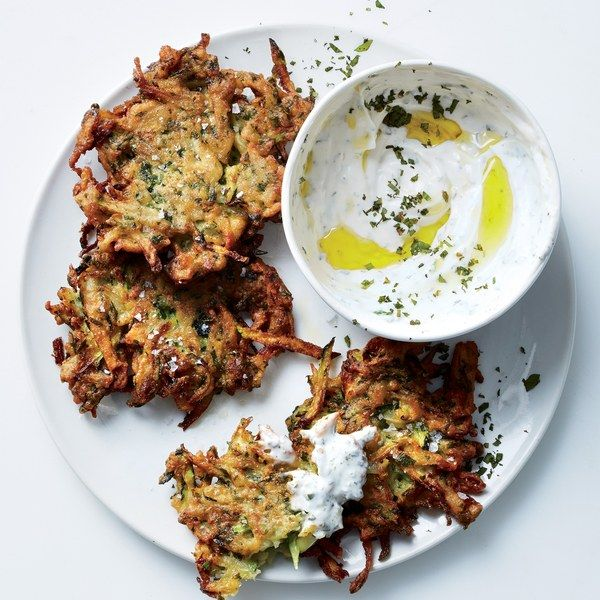 Zucchini-Herb Fritters with Garlic Yogurt