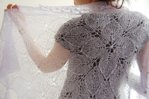 Lilaceous Shawl: Knitty Winter 2012 (Free Pttrn)  Use appropriate sized needles to make the lace look open  clear. It's wrkd in the rnd, beg @ the center of the square. Top side is CO  left wing is wrkd back  forth. Yarn is joined @ bttm-left corner of the square  bttm tip is knitted back  forth. Yarn is joined @ bttm-right corner of the square, then the right wing is knitted back  forth.  http://www.knitty.com/ISSUEw12/PATTlilaceous.php