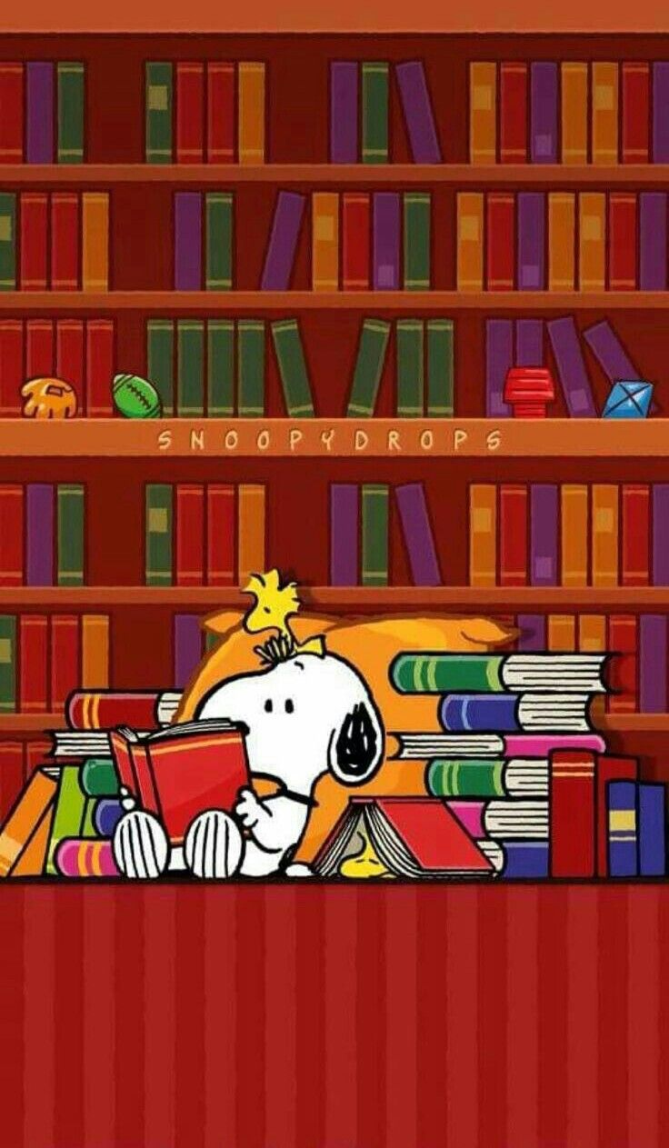 Snoopy And Woodstock In The Library Snoopy Pictures Snoopy Love Snoopy Quotes