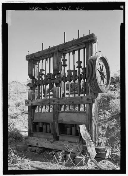 Old stamp mill in Palmetto Gulch near South Pass City, 1974. Library of Congress.