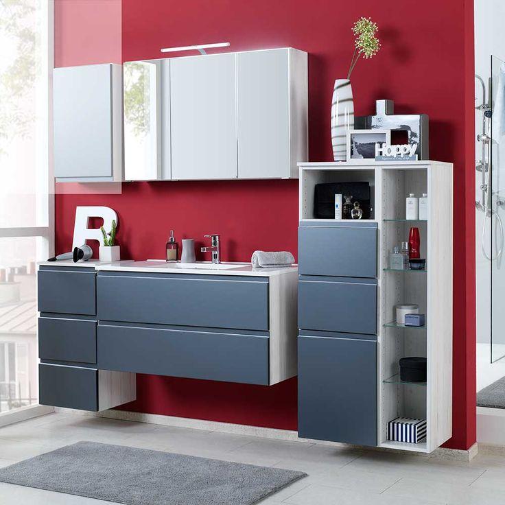 Badezimmer Komplettset in Grau Hochglanz Eiche Weiß modern (4 - badezimmer komplettset