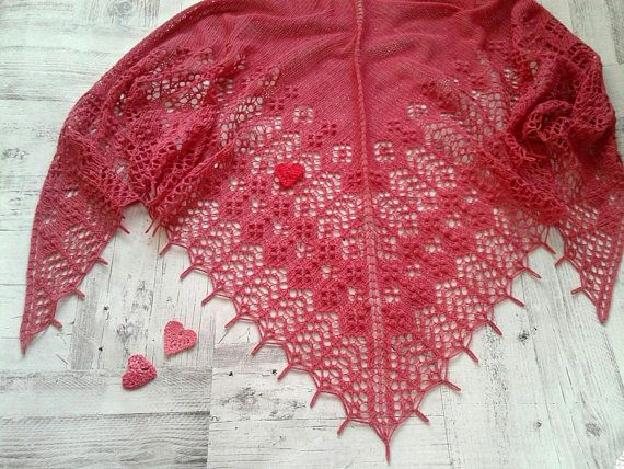 Knitted Lace Shawl in bright pink Merino Wool and Cashmere