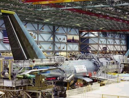 The construction of the 747-400ER extended range freighter at the Boeing factory in Everett, Washington. The freighter, one of three ordered...