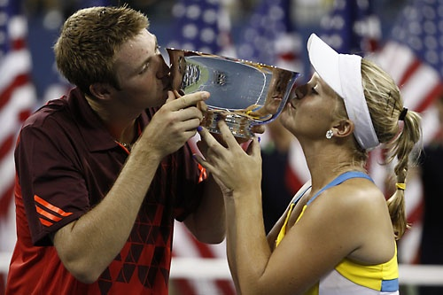 2011 U.S. Open Mixed Doubles Champions Jack Sock and Melanie Oudin (USA).  September 2011.  #tennis