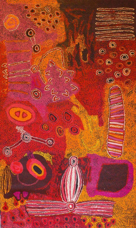 Sallyanne Roberts, Kura Ala, acrylic on linen, 200 x 120 cm Tjungu Palya, APY Lands. For more Aborignal art visit us at www.mccullochandmcculloch.com.au #aboriginalart #contemporaryart #australianart