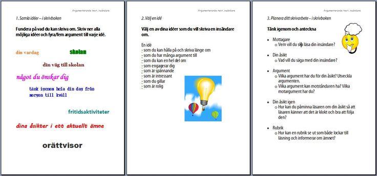 Informationskartor kring att skriva insändare (argumenterande text), del 1 av 2