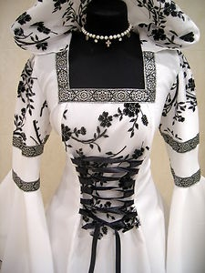 Medieval Wedding Dress Goth L XL XXL 16 18 20 Victorian Party Renaissance Wicca | eBay