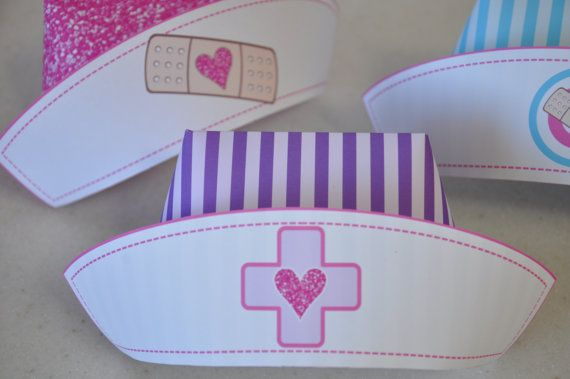 Nurse hat in assorted colors and designs - ideal for your Doc McStuffins party!