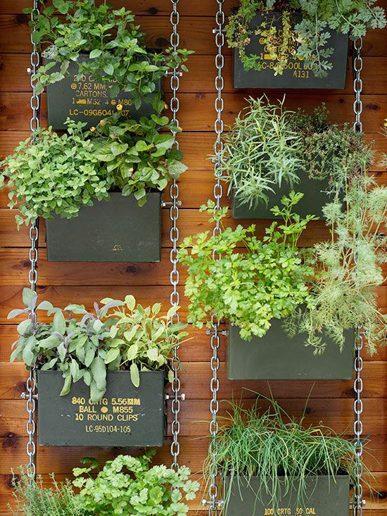 Vertical garden made with old Army ammo boxes - cute DIY repurpose project!