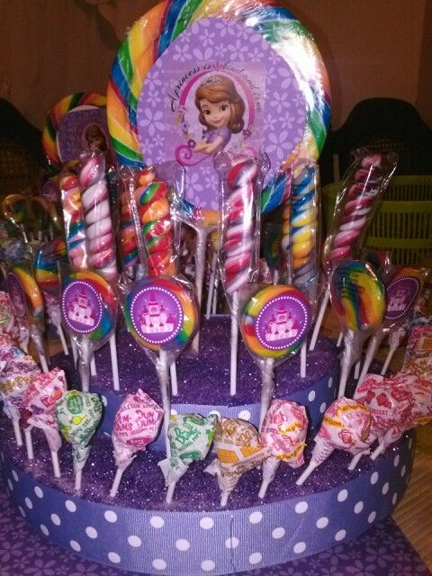 Sofia the first Lollipop centerpiece by Toni