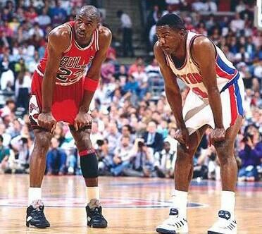 Michael Jordan and Joe Dumars (Detroit Pistons)