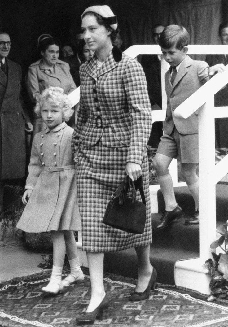 Princess Anne, Princess Margaret, and Prince Charles