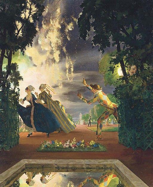"The romantic pursuit Konstantin Andreevich Somov (1869-1939) - ""The romantic pursuit"", 1935 - Oil on canvas"